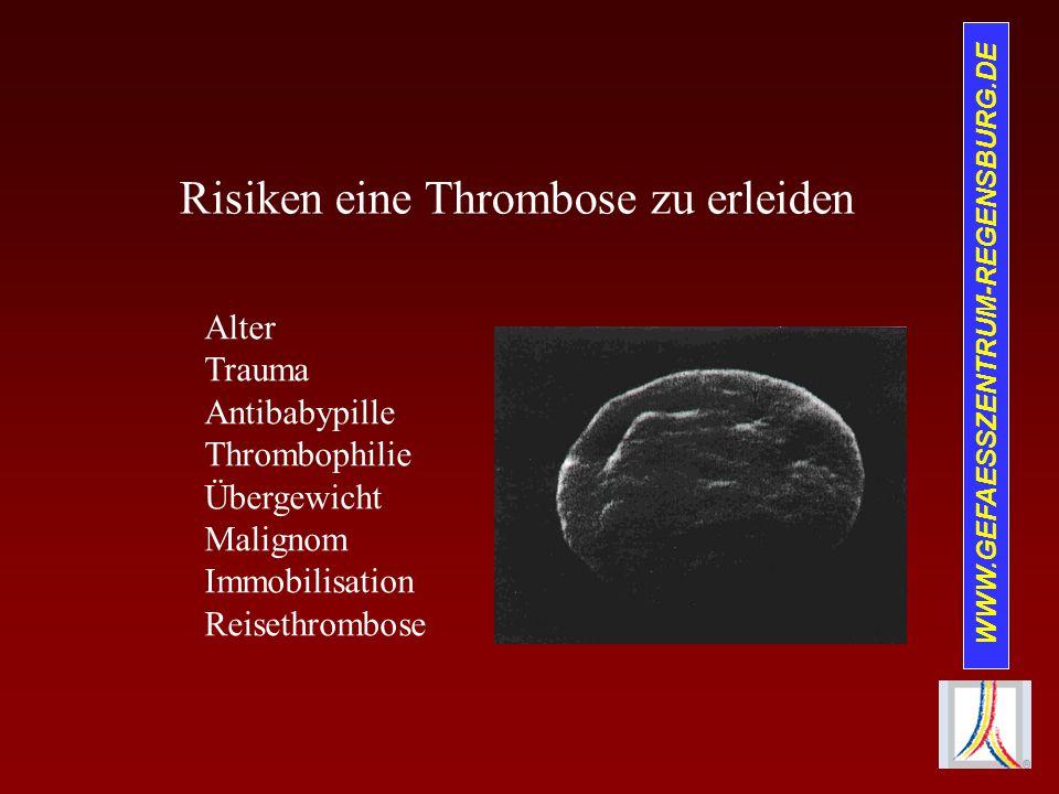 Risiken eine Thrombose zu erleiden Alter Trauma Antibabypille Thrombophilie Übergewicht Malignom Immobilisation Reisethrombose