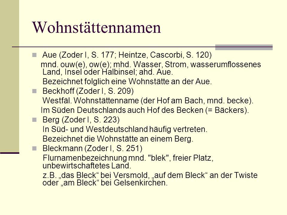 Wohnstättennamen Aue (Zoder I, S. 177; Heintze, Cascorbi, S. 120) mnd. ouw(e), ow(e); mhd. Wasser, Strom, wasserumflossenes Land, Insel oder Halbinsel