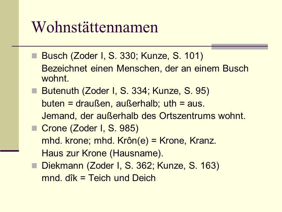 Wohnstättennamen Busch (Zoder I, S. 330; Kunze, S. 101) Bezeichnet einen Menschen, der an einem Busch wohnt. Butenuth (Zoder I, S. 334; Kunze, S. 95)