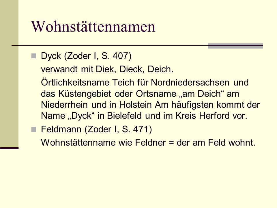 Wohnstättennamen Dyck (Zoder I, S. 407) verwandt mit Diek, Dieck, Deich. Örtlichkeitsname Teich für Nordniedersachsen und das Küstengebiet oder Ortsna