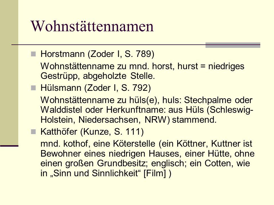 Wohnstättennamen Horstmann (Zoder I, S. 789) Wohnstättenname zu mnd. horst, hurst = niedriges Gestrüpp, abgeholzte Stelle. Hülsmann (Zoder I, S. 792)