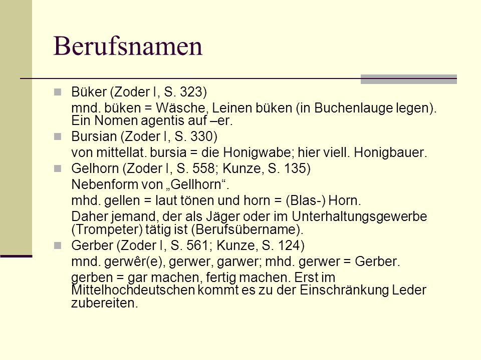 Berufsnamen Büker (Zoder I, S. 323) mnd. büken = Wäsche, Leinen büken (in Buchenlauge legen). Ein Nomen agentis auf –er. Bursian (Zoder I, S. 330) von
