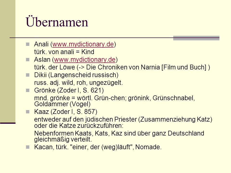 Übernamen Anali (www.mydictionary.de)www.mydictionary.de türk. von anali = Kind Aslan (www.mydictionary.de)www.mydictionary.de türk. der Löwe (-> Die