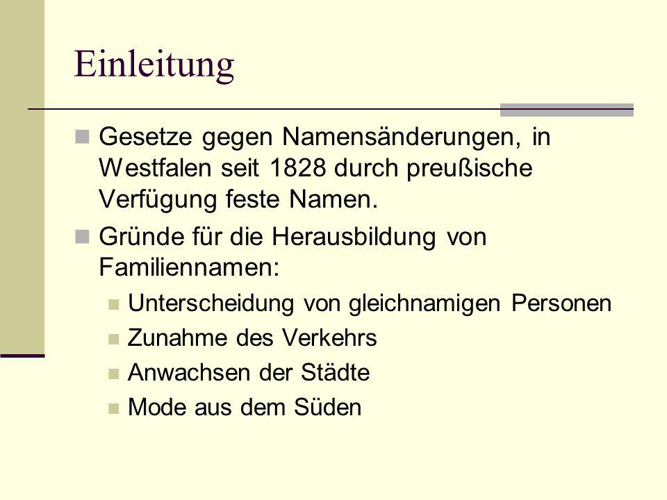 Einleitung Gesetze gegen Namensänderungen, in Westfalen seit 1828 durch preußische Verfügung feste Namen. Gründe für die Herausbildung von Familiennam