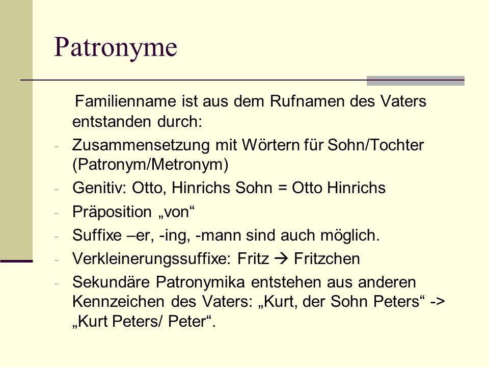 Patronyme Familienname ist aus dem Rufnamen des Vaters entstanden durch: - Zusammensetzung mit Wörtern für Sohn/Tochter (Patronym/Metronym) - Genitiv: