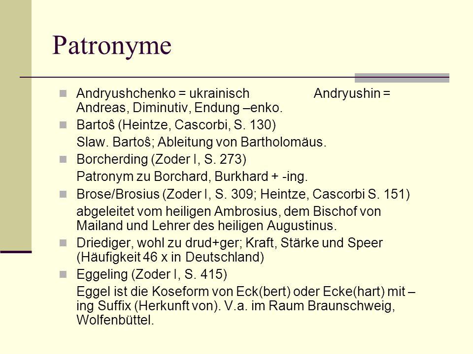 Patronyme Andryushchenko = ukrainisch Andryushin = Andreas, Diminutiv, Endung –enko. Bartoŝ (Heintze, Cascorbi, S. 130) Slaw. Bartoŝ; Ableitung von Ba