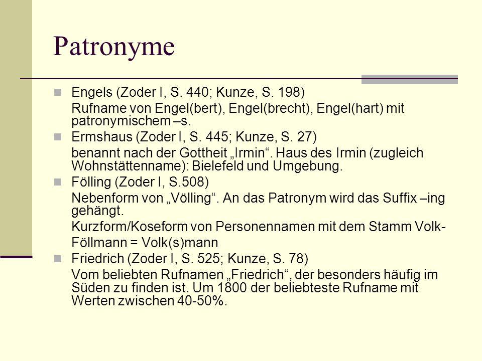 Patronyme Engels (Zoder I, S. 440; Kunze, S. 198) Rufname von Engel(bert), Engel(brecht), Engel(hart) mit patronymischem –s. Ermshaus (Zoder I, S. 445