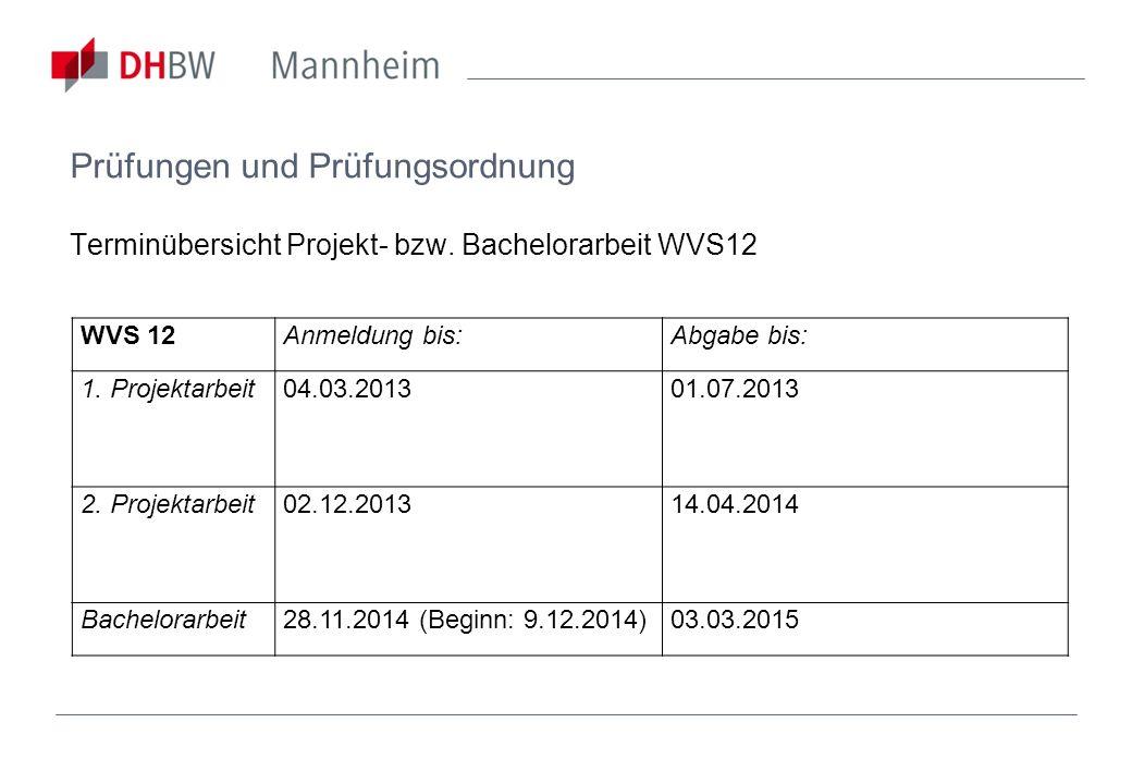 Prüfungen und Prüfungsordnung Terminübersicht Projekt- bzw. Bachelorarbeit WVS12 WVS 12Anmeldung bis:Abgabe bis: 1. Projektarbeit04.03.2013 01.07.2013