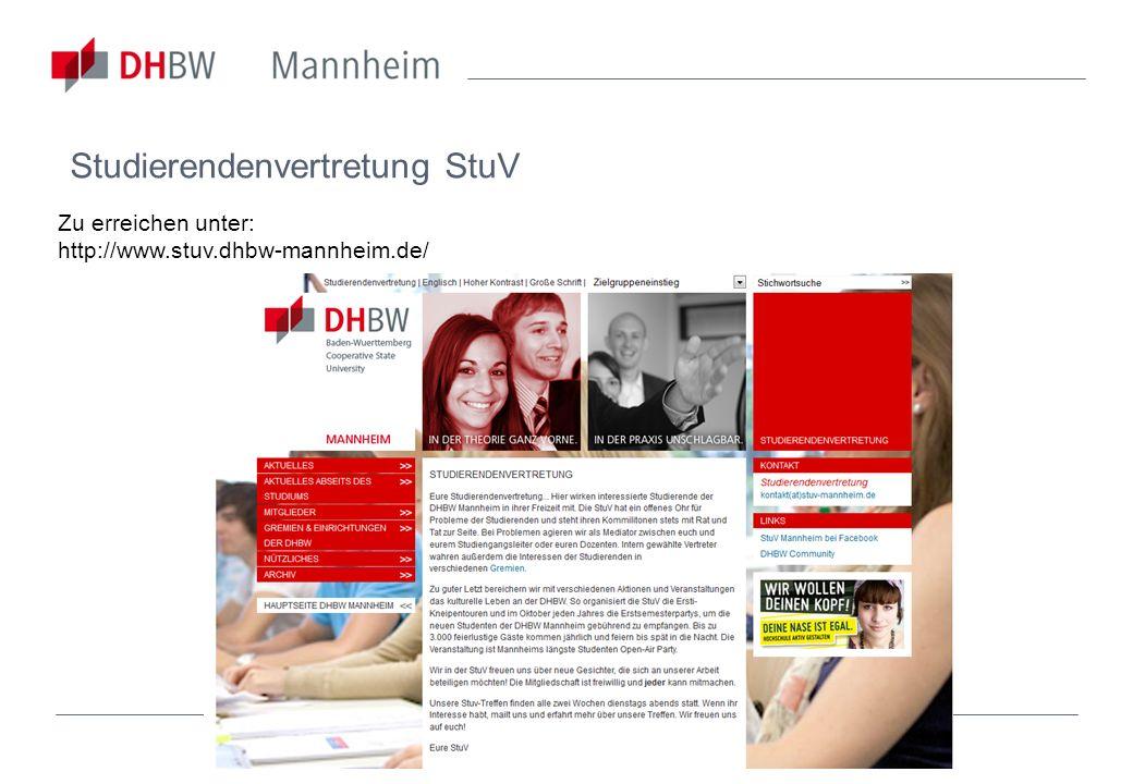 Studierendenvertretung StuV Zu erreichen unter: http://www.stuv.dhbw-mannheim.de/
