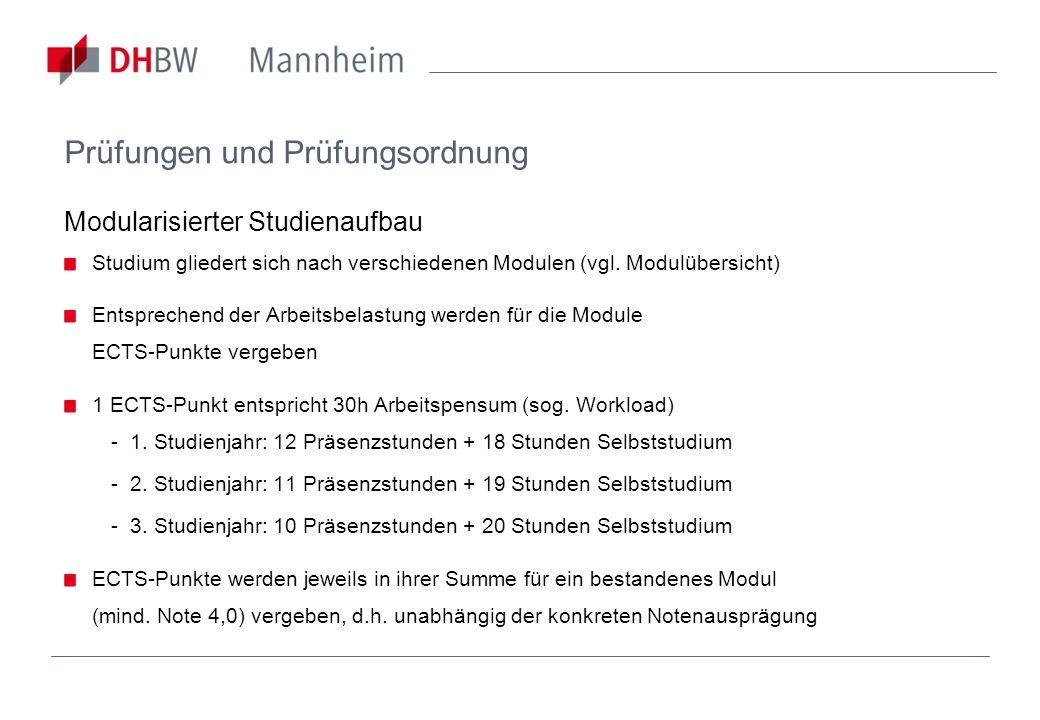 Prüfungen und Prüfungsordnung Modularisierter Studienaufbau Studium gliedert sich nach verschiedenen Modulen (vgl. Modulübersicht) Entsprechend der Ar