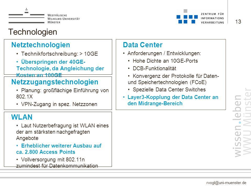 rvogl@uni-muenster.de Technologien Netztechnologien Technikfortschreibung: > 10GE Überspringen der 40GE- Technologie, da Angleichung der Kosten an 100