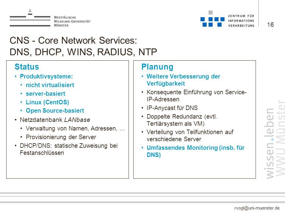 rvogl@uni-muenster.de CNS - Core Network Services: DNS, DHCP, WINS, RADIUS, NTP Status Produktivsysteme: nicht virtualisiert server-basiert Linux (Cen