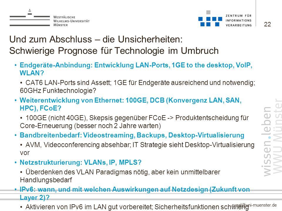 rvogl@uni-muenster.de Und zum Abschluss – die Unsicherheiten: Schwierige Prognose für Technologie im Umbruch Endgeräte-Anbindung: Entwicklung LAN-Port