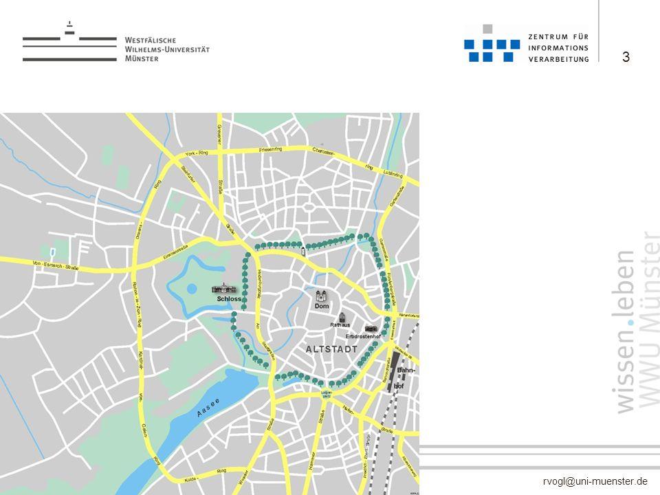 rvogl@uni-muenster.de –keine Campus-Universität –etwa 210 Gebäude über das gesamte Stadtgebiet verteilt (ohne Klinikum) –257.000 m 2 Nutzfläche 3