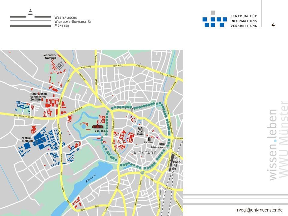 rvogl@uni-muenster.de –keine Campus-Universität –etwa 210 Gebäude über das gesamte Stadtgebiet verteilt (ohne Klinikum) –257.000 m 2 Nutzfläche 4