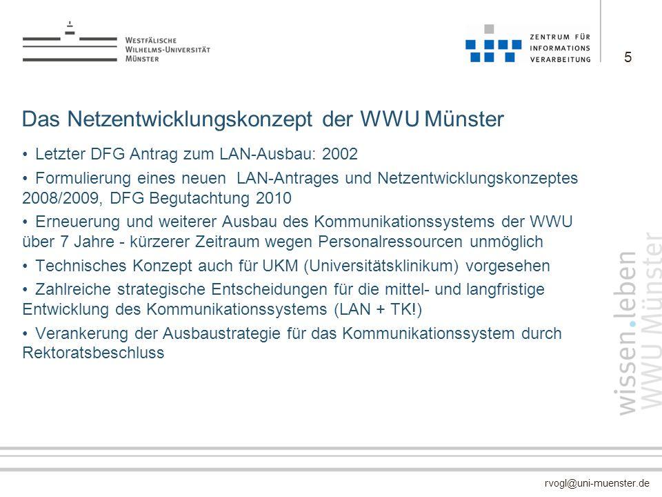 rvogl@uni-muenster.de Das Netzentwicklungskonzept der WWU Münster Letzter DFG Antrag zum LAN-Ausbau: 2002 Formulierung eines neuen LAN-Antrages und Ne