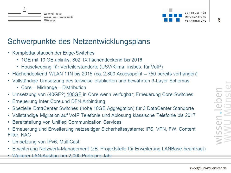 rvogl@uni-muenster.de Schwerpunkte des Netzentwicklungsplans Komplettaustausch der Edge-Switches 1GE mit 10 GE uplinks; 802.1X flächendeckend bis 2016