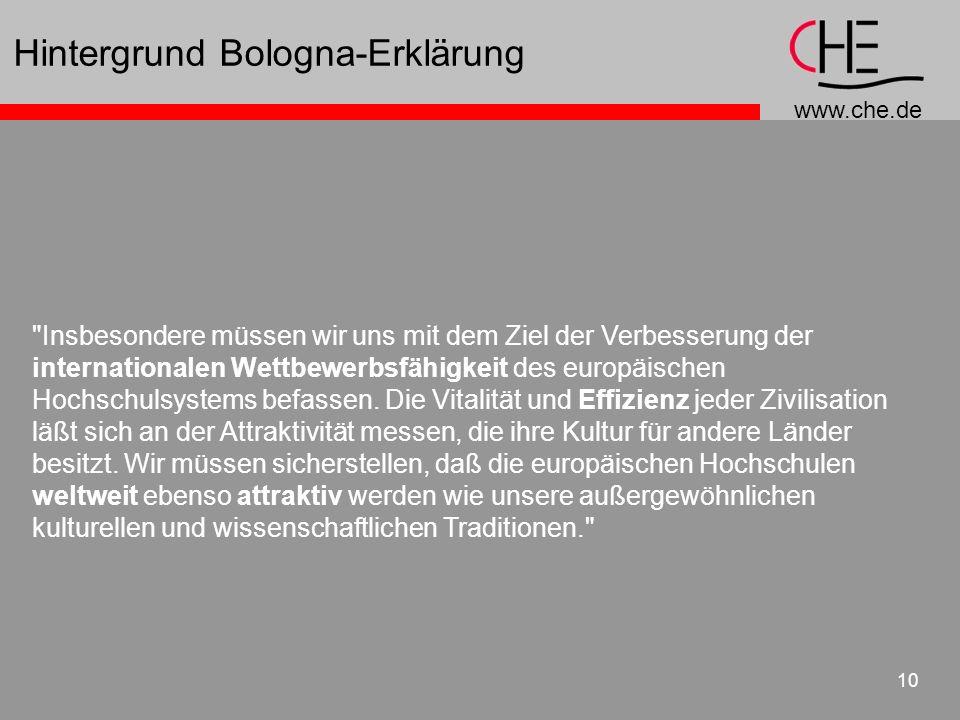 www.che.de 10 Hintergrund Bologna-Erklärung