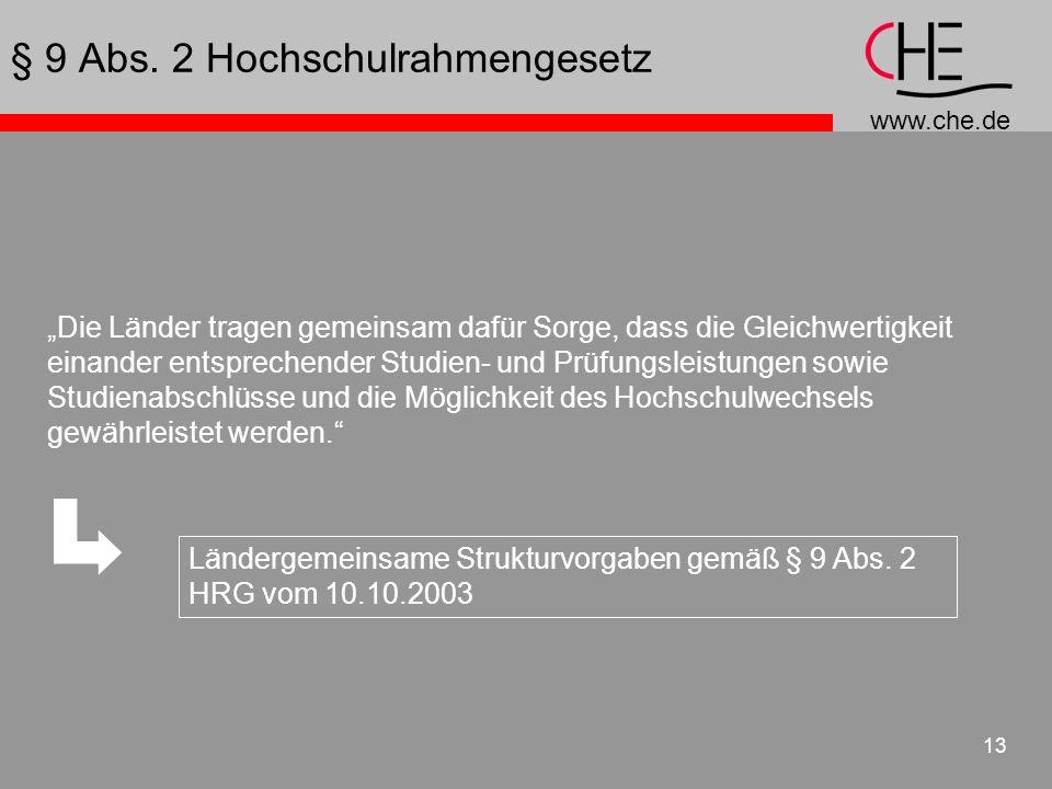 www.che.de 13 Die Länder tragen gemeinsam dafür Sorge, dass die Gleichwertigkeit einander entsprechender Studien- und Prüfungsleistungen sowie Studien