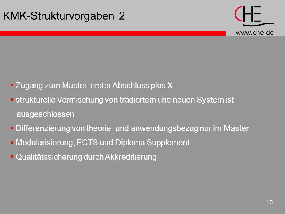 www.che.de 15 KMK-Strukturvorgaben 2 Zugang zum Master: erster Abschluss plus X strukturelle Vermischung von tradiertem und neuen System ist ausgeschl