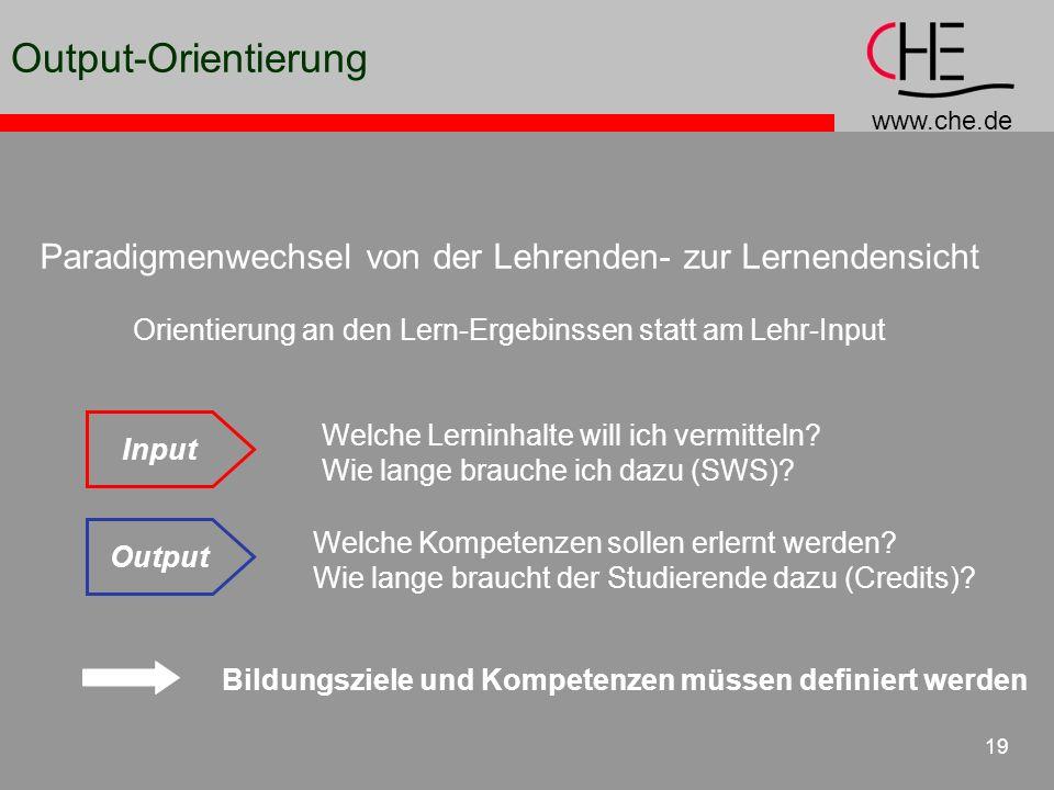 www.che.de 19 Welche Lerninhalte will ich vermitteln? Wie lange brauche ich dazu (SWS)? Welche Kompetenzen sollen erlernt werden? Wie lange braucht de
