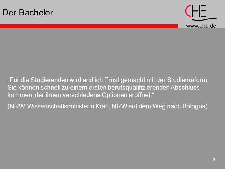 www.che.de 23 work load und ECTS work load studentischer Arbeitsaufwand ausgedrückt in LP/Credits (Währung) Vorlesungen, Seminare, Übungen, Vor- und Nachbereitung, Selbststudium, Arbeiten, Prüfungen, Praktika etc.