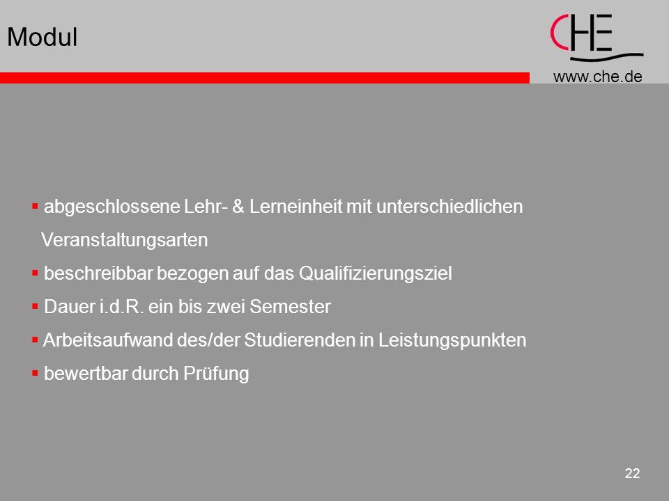 www.che.de 22 abgeschlossene Lehr- & Lerneinheit mit unterschiedlichen Veranstaltungsarten beschreibbar bezogen auf das Qualifizierungsziel Dauer i.d.