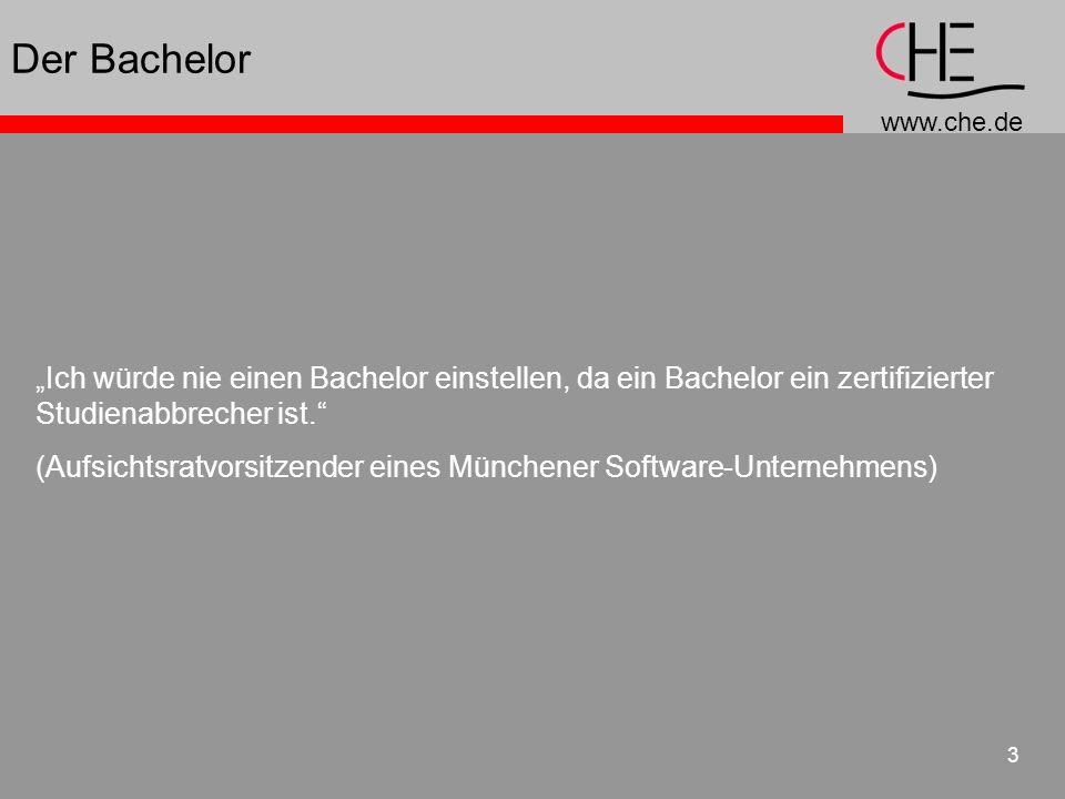 www.che.de 3 Der Bachelor Ich würde nie einen Bachelor einstellen, da ein Bachelor ein zertifizierter Studienabbrecher ist. (Aufsichtsratvorsitzender