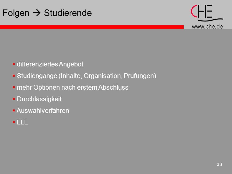 www.che.de 33 differenziertes Angebot Studiengänge (Inhalte, Organisation, Prüfungen) mehr Optionen nach erstem Abschluss Durchlässigkeit Auswahlverfa