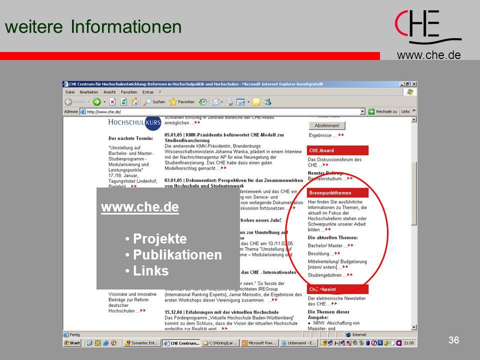 www.che.de 36 weitere Informationen www.che.de Projekte Publikationen Links