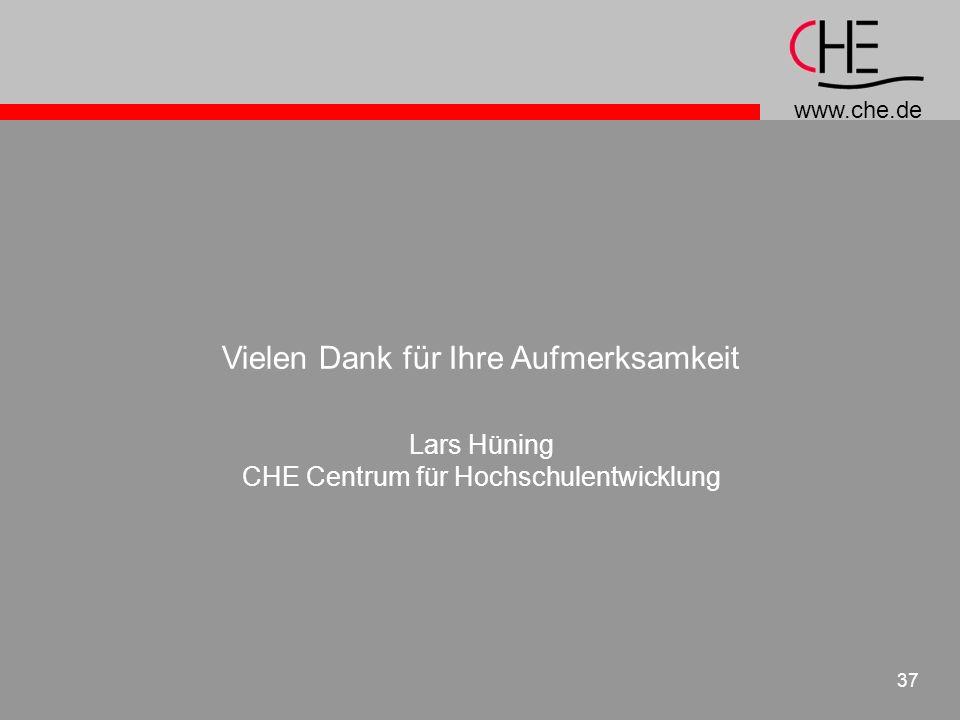www.che.de 37 Vielen Dank für Ihre Aufmerksamkeit Lars Hüning CHE Centrum für Hochschulentwicklung