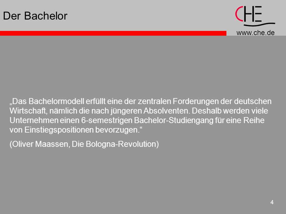 www.che.de 15 KMK-Strukturvorgaben 2 Zugang zum Master: erster Abschluss plus X strukturelle Vermischung von tradiertem und neuen System ist ausgeschlossen Differenzierung von theorie- und anwendungsbezug nur im Master Modularisierung, ECTS und Diploma Supplement Qualitätssicherung durch Akkreditierung