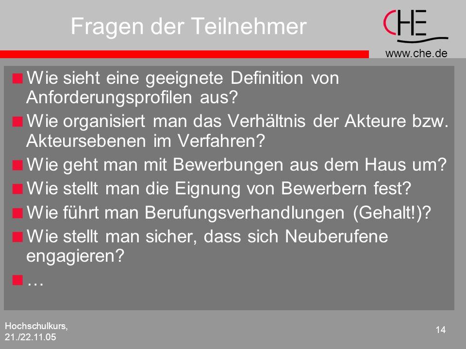 www.che.de Hochschulkurs, 21./22.11.05 14 Fragen der Teilnehmer Wie sieht eine geeignete Definition von Anforderungsprofilen aus? Wie organisiert man