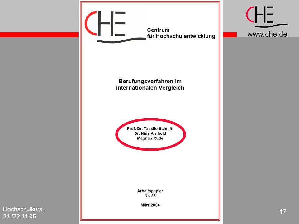 www.che.de Hochschulkurs, 21./22.11.05 17