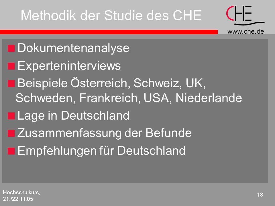 www.che.de Hochschulkurs, 21./22.11.05 18 Methodik der Studie des CHE Dokumentenanalyse Experteninterviews Beispiele Österreich, Schweiz, UK, Schweden