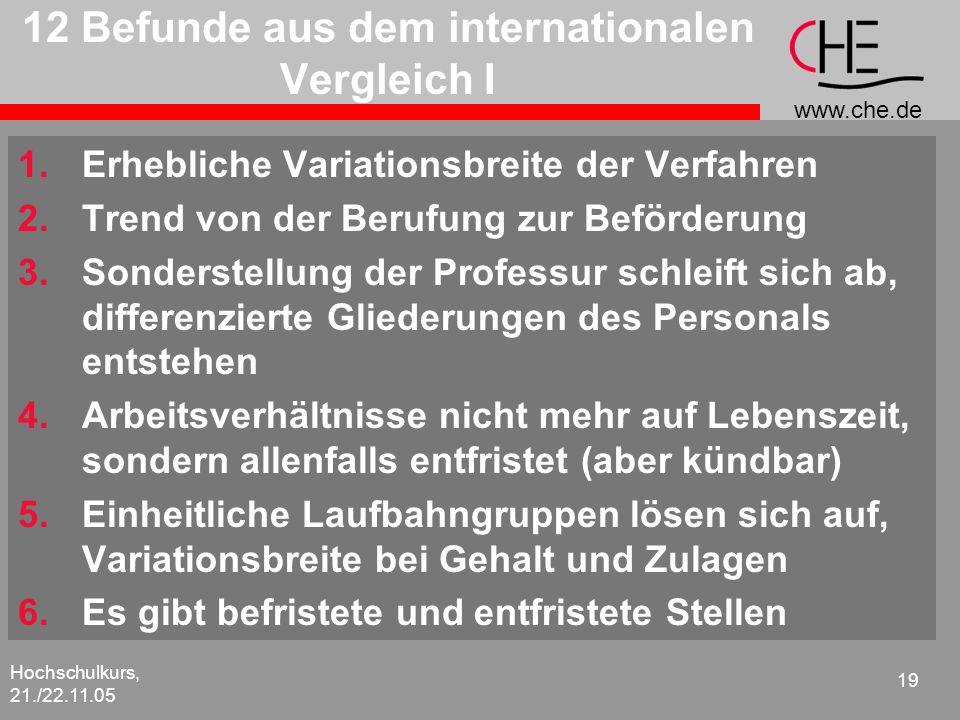 www.che.de Hochschulkurs, 21./22.11.05 19 12 Befunde aus dem internationalen Vergleich I 1.Erhebliche Variationsbreite der Verfahren 2.Trend von der B