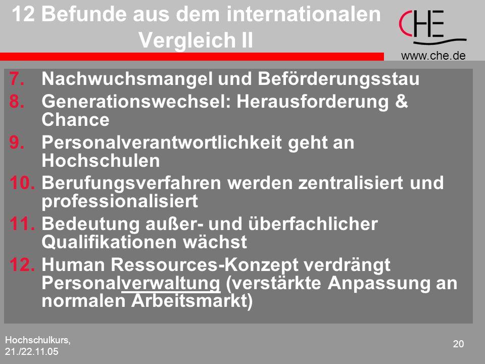 www.che.de Hochschulkurs, 21./22.11.05 20 12 Befunde aus dem internationalen Vergleich II 7.Nachwuchsmangel und Beförderungsstau 8.Generationswechsel: