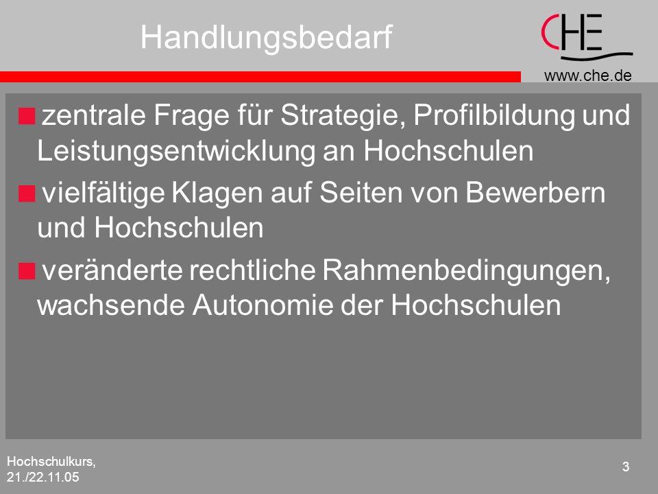 www.che.de Hochschulkurs, 21./22.11.05 3 Handlungsbedarf zentrale Frage für Strategie, Profilbildung und Leistungsentwicklung an Hochschulen vielfälti
