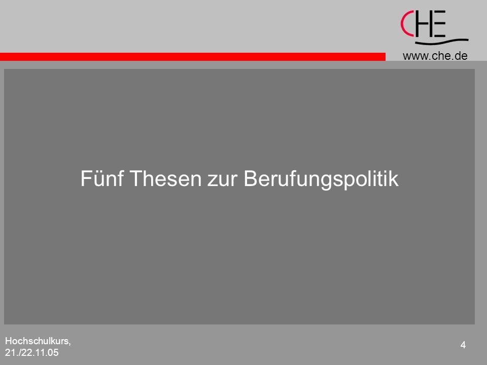 www.che.de Hochschulkurs, 21./22.11.05 5 Fünf Thesen zur Berufungspolitik 1.Professuren sind kein Besitzstand der Fachbereiche.