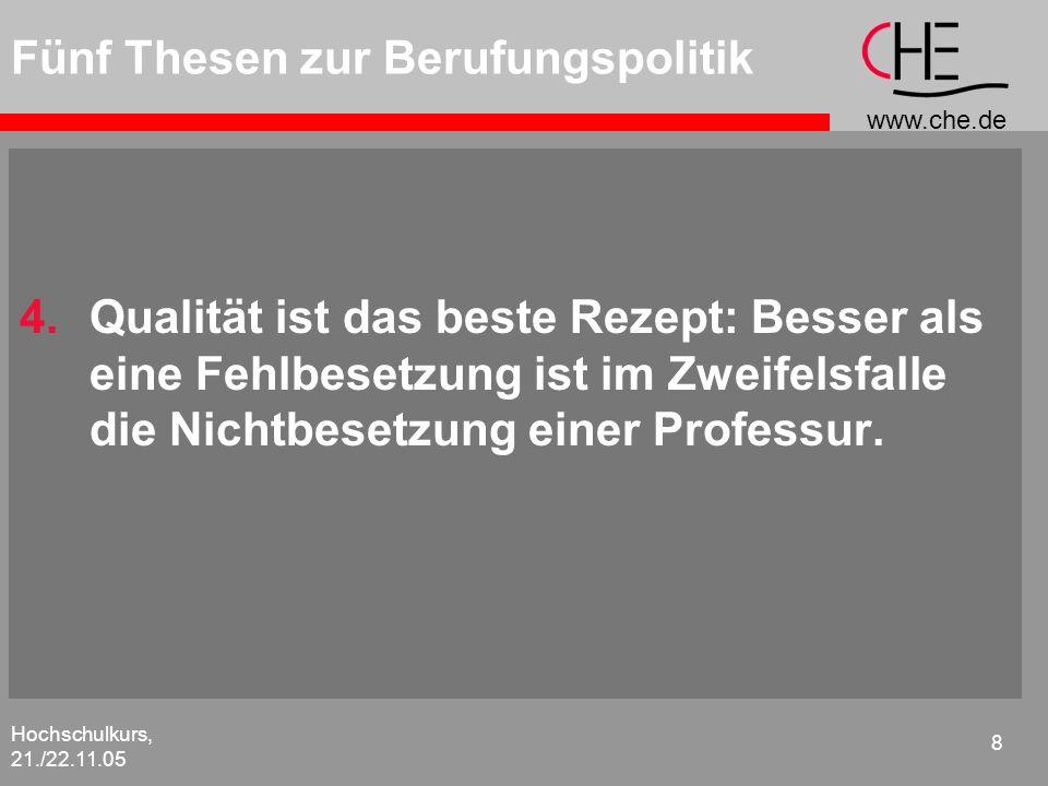 www.che.de Hochschulkurs, 21./22.11.05 8 Fünf Thesen zur Berufungspolitik 4.Qualität ist das beste Rezept: Besser als eine Fehlbesetzung ist im Zweife