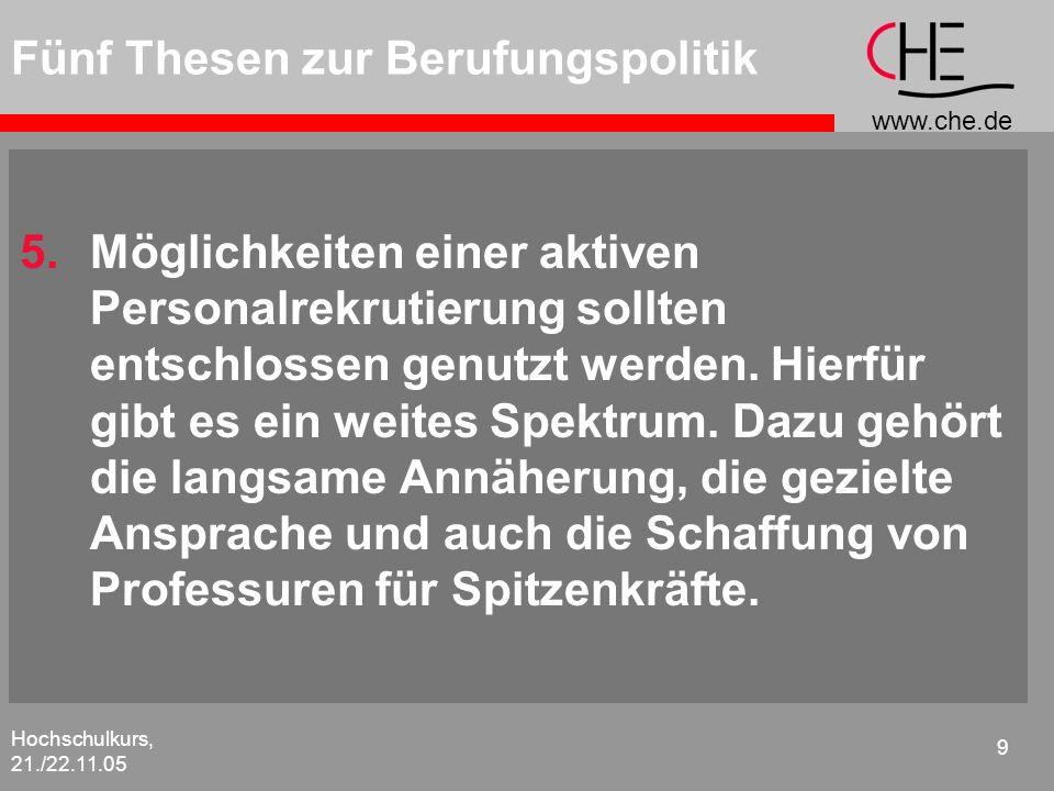 www.che.de Hochschulkurs, 21./22.11.05 9 Fünf Thesen zur Berufungspolitik 5.Möglichkeiten einer aktiven Personalrekrutierung sollten entschlossen genu