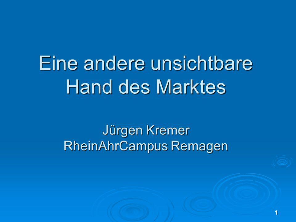 1 Eine andere unsichtbare Hand des Marktes Jürgen Kremer RheinAhrCampus Remagen