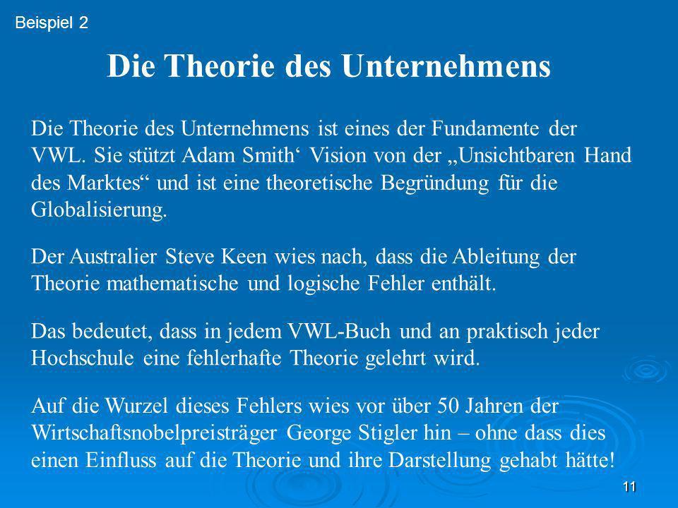 11 Die Theorie des Unternehmens ist eines der Fundamente der VWL. Sie stützt Adam Smith Vision von der Unsichtbaren Hand des Marktes und ist eine theo