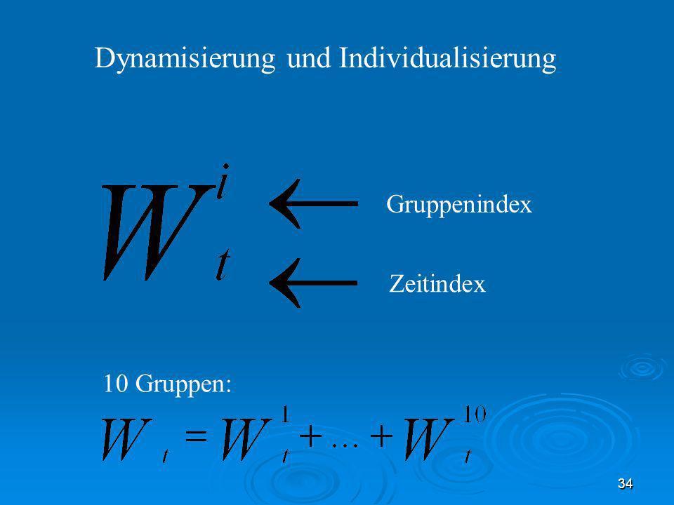 34 Dynamisierung und Individualisierung Gruppenindex Zeitindex 10 Gruppen: