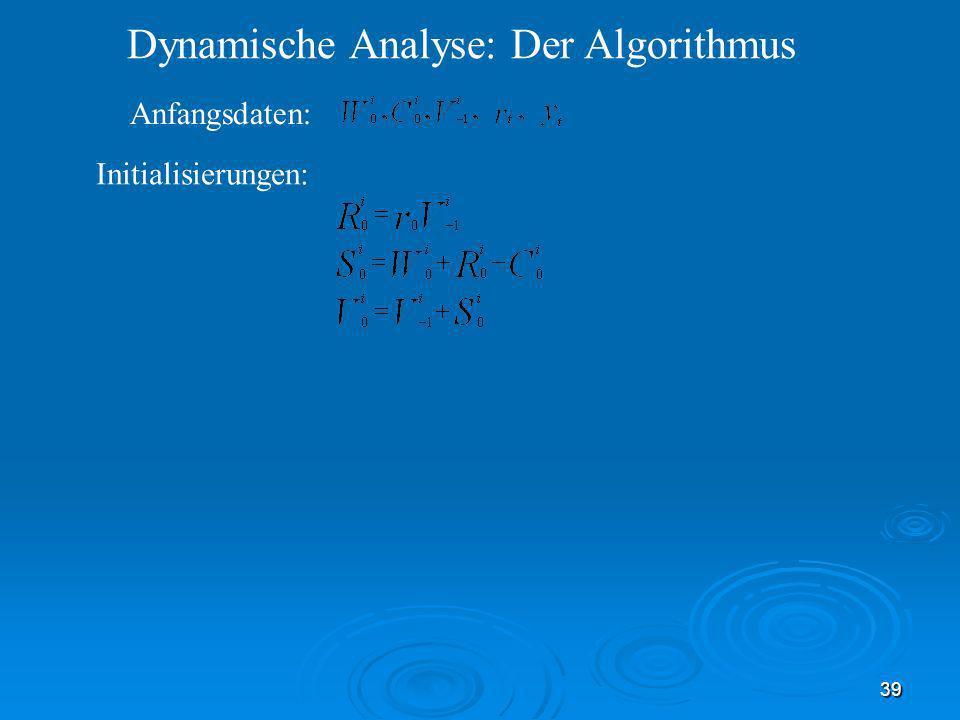 39 Dynamische Analyse: Der Algorithmus Initialisierungen: Anfangsdaten: