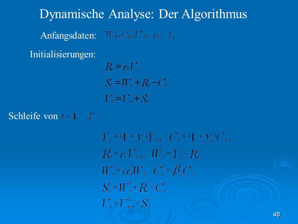 40 Dynamische Analyse: Der Algorithmus Schleife von Initialisierungen: Anfangsdaten: