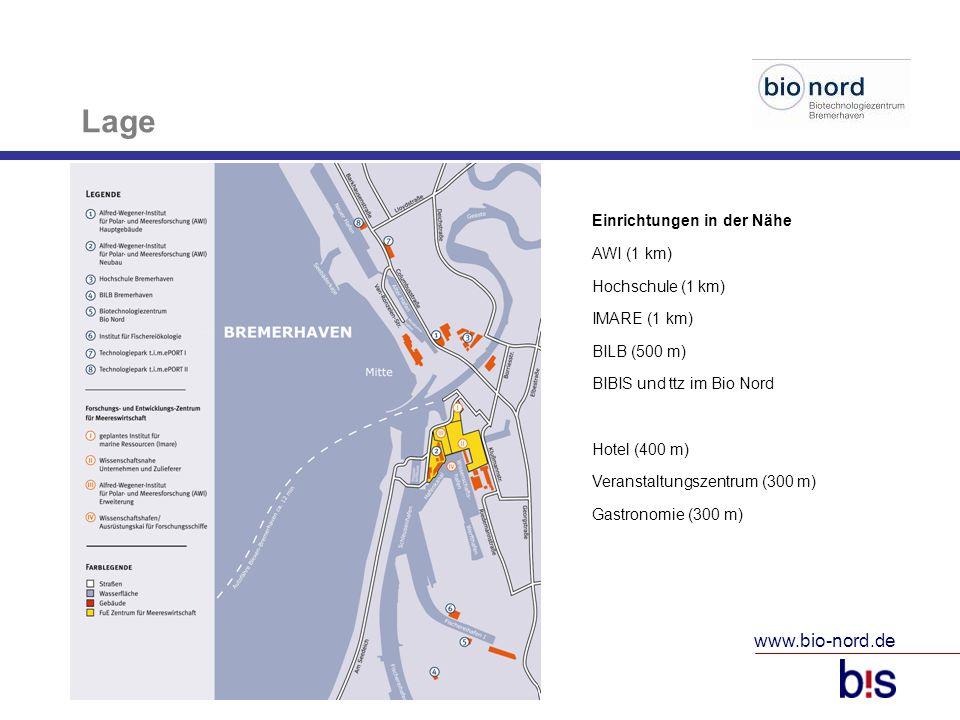 www.bio-nord.de 10 Lage Einrichtungen in der Nähe AWI (1 km) Hochschule (1 km) IMARE (1 km) BILB (500 m) BIBIS und ttz im Bio Nord Hotel (400 m) Veran