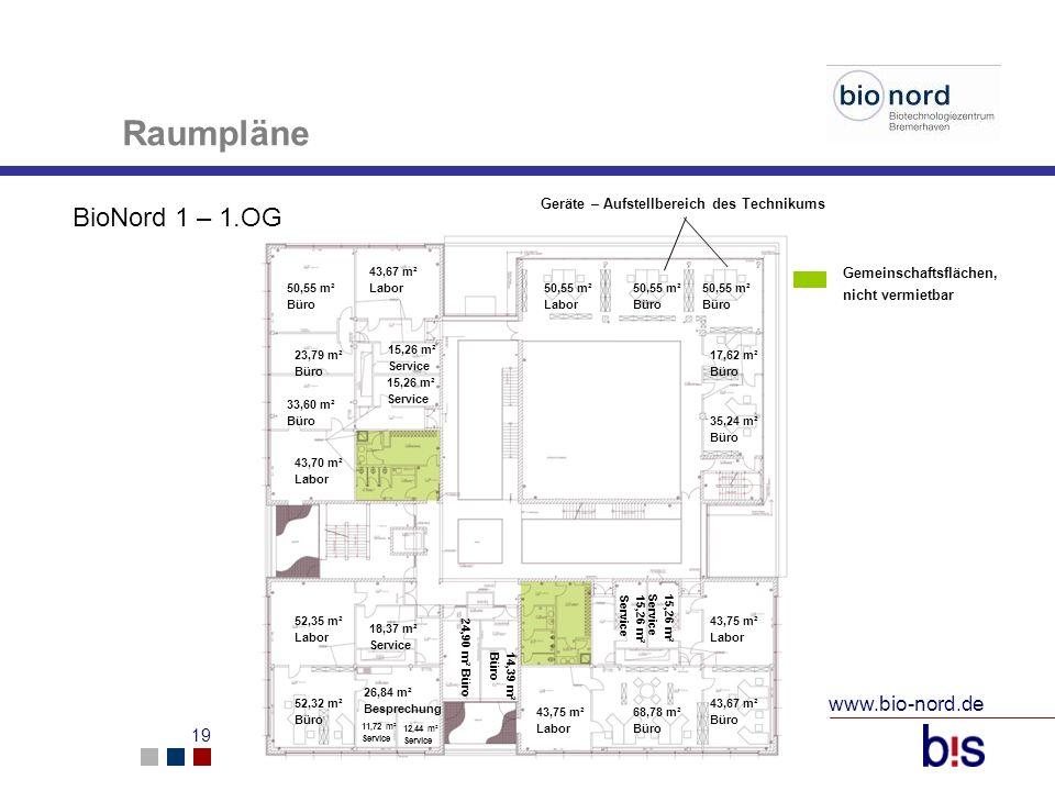 www.bio-nord.de 19 Raumpläne BioNord 1 – 1.OG 50,55 m² Büro 23,79 m² Büro 43,67 m² Labor 35,24 m² Büro 17,62 m² Büro 50,55 m² Büro 50,55 m² Labor 11,7