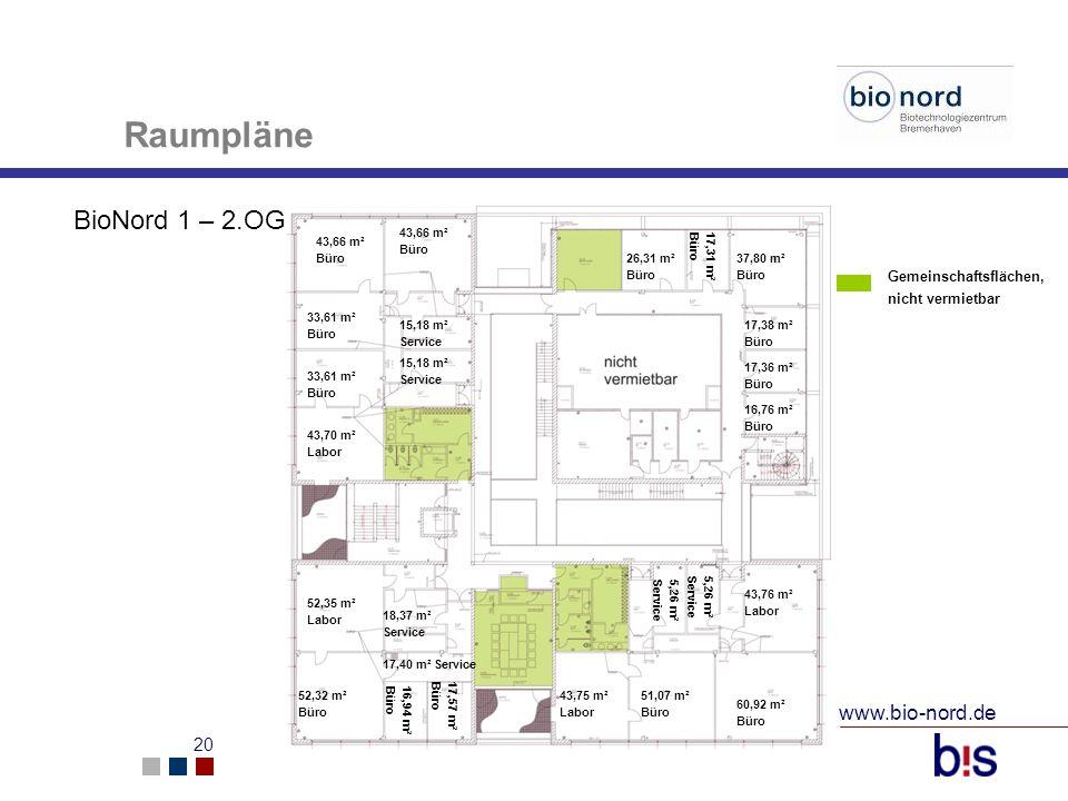 www.bio-nord.de 21 24 m² Lager 23,5 m² Lager 22,8 m² Lager Tiefkühlraum 47,3 m² Kühlraum 24 m² Labor 33,45 m² 39,55 m² Labor 15,35 m² Lager 16,6 m² Büro 16,9 m² Büro 132,8 m² Ausstellungsfläche 14,5 m² 8,2 m² Raumpläne BioNord 2 – Erdgeschoss 24,14 m² Büro 16,6 m² Büro Gemeinschaftsflächen, nicht vermietbar Technik/ Elektrik etc.