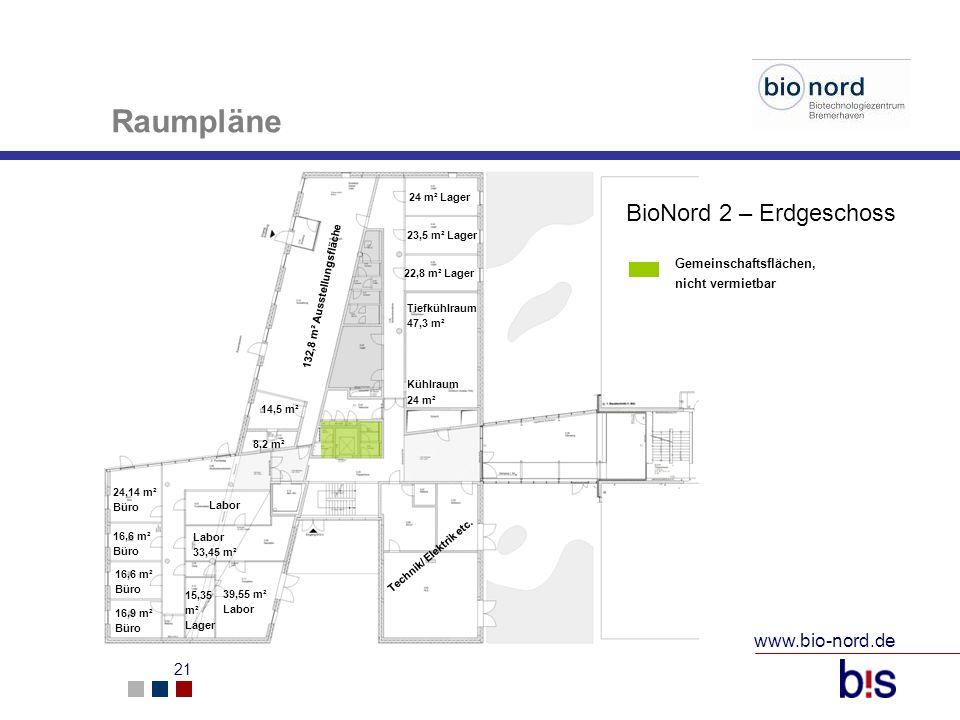 www.bio-nord.de 21 24 m² Lager 23,5 m² Lager 22,8 m² Lager Tiefkühlraum 47,3 m² Kühlraum 24 m² Labor 33,45 m² 39,55 m² Labor 15,35 m² Lager 16,6 m² Bü